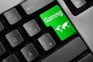12435504-grey-keyboard-with-green-enter-button-global-gaming